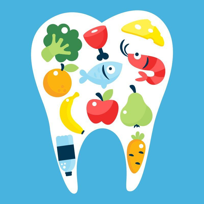 Cartoon tooth on blue background that contains cartoon foods including: broccoli, meat, cheese, shrimp, fish, orange, apple, banana, pear, carrot, and a bottle of water.
